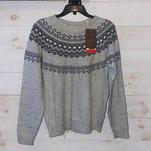 WEATHERPROOF VINTAGE Women's Gray Fair Isle Pattern Crewneck Sweater Size M NEW